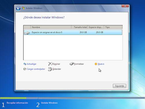 Formateo en Instalación de Windows 7
