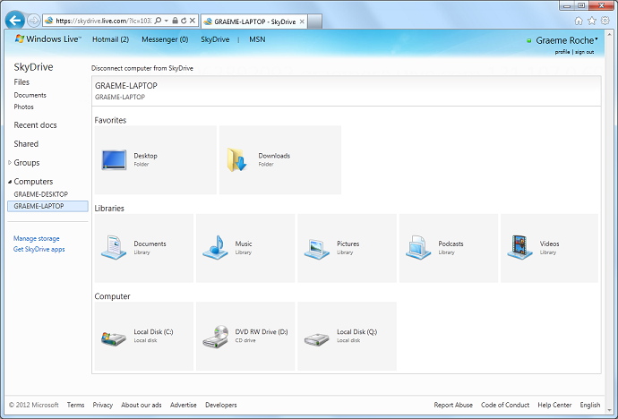 Captura de pantalla del MS Skydrive