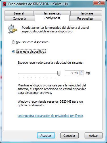 Pantalla de propiedades del Windows ReadyBoost