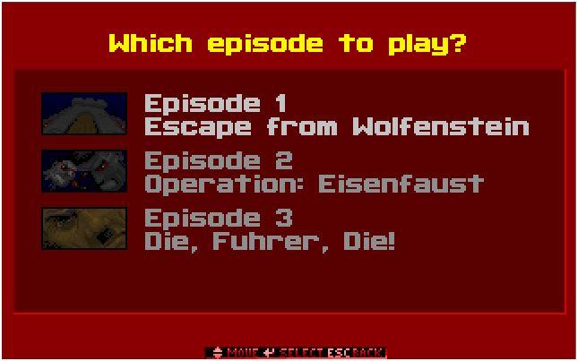 Menú de selección de episodios.