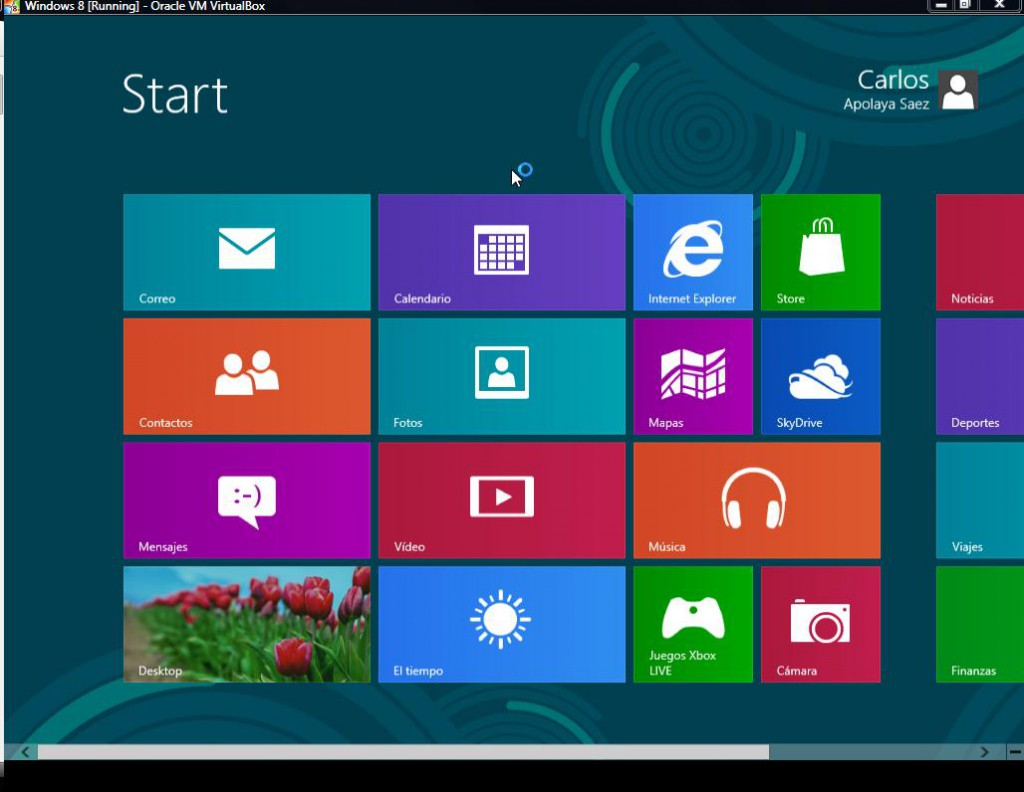 Pantalla de Inicio de Windows 8 RP